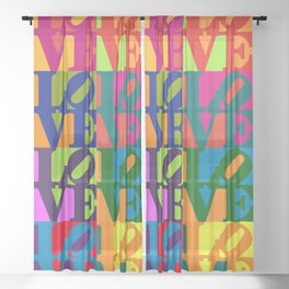 Love Pop Art Sheer Curtain