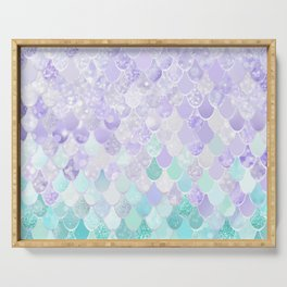 Mermaid Iridescent Purple and Teal Pattern Serving Tray