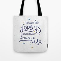 snape Tote Bags featuring Never leave us by Earthlightened