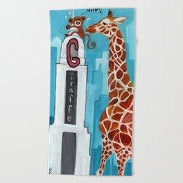 G for Giraffe - Alphabet City  Beach Towel
