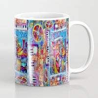 steam punk Mugs featuring Abstract Steam Punk Music Collage by SharlesArt