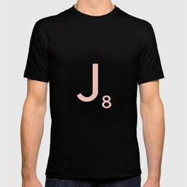 Pink Scrabble Letter J - Scrabble Tile Art and Accessories T-shirt