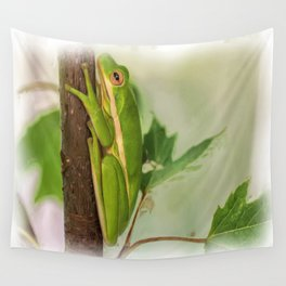 Painted Green Tree Frog Wall Tapestry