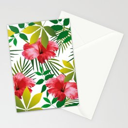 Hibiscus Flower and Leaf Stationery Cards