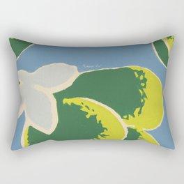 Big Japanese Flower On Blue Background Rectangular Pillow