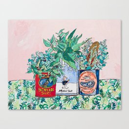 Jungle Botanical in Colorful Cans on Pink - Still Life Canvas Print