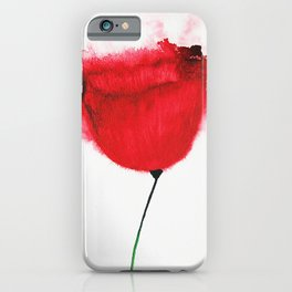 Single Poppy Madder Lake Red Light / Watercolor Painting iPhone Case