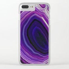 Swirled Purple Geode Clear iPhone Case