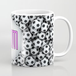 Soccer Mom / 3D render of hundreds of soccer balls framing Mom text Coffee Mug