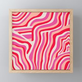 pink zebra stripes Framed Mini Art Print