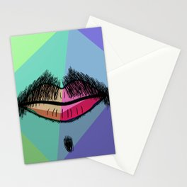 Colorful Mustache Stationery Cards