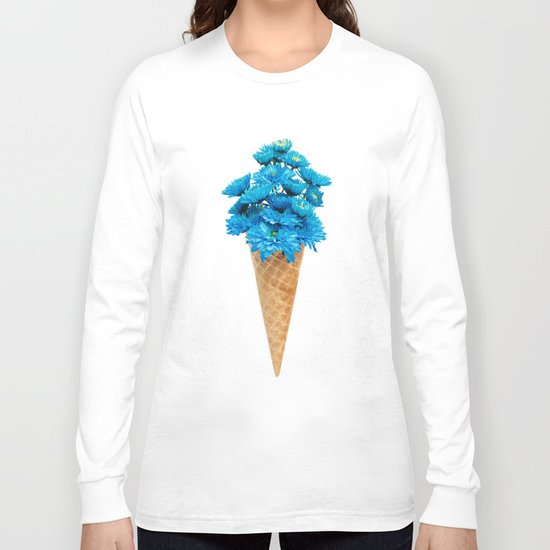 Blue Chrysanthemum in Ice Cream Cone Long Sleeve T-shirt