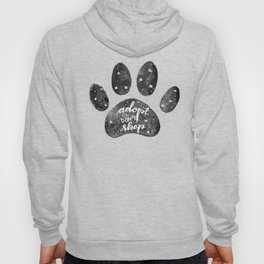 Adopt don't shop galaxy paw - black and white Hoody