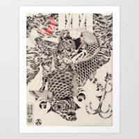 Iron Skin Koi Art Print