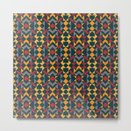 Tribal Triangles Quilt - vivid colours on blue background. Warm colours red and yellow tones Metal Print