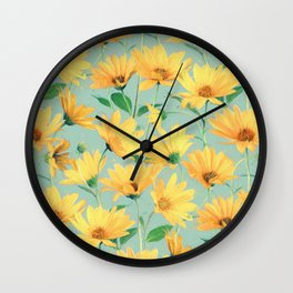 Painted Golden Yellow Daisies on soft sage green Wall Clock
