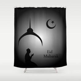 Man praying under the moon Shower Curtain