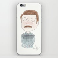 parks and recreation iPhone & iPod Skins featuring Parks and Recreation - Ron Swanson by Sami Kelsh