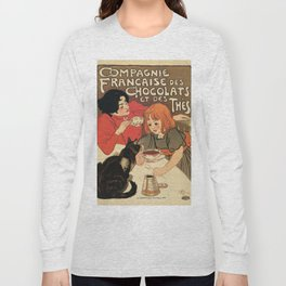Vintage French tea and hot cocoa advertising Long Sleeve T-shirt