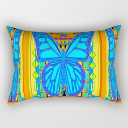 Blue Butterflies Gold Floral Deco Art Rectangular Pillow