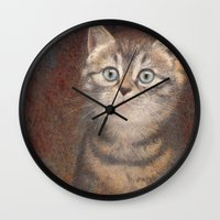 kitty Wall Clocks featuring Kitty by irshi