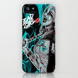 Bad Girl In Turquoise Blue iPhone Case