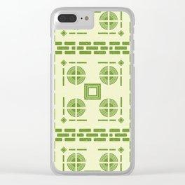 Mediterranean Pattern 6 - Tile Pattern Designs - Geometric - Green - Ceramic Tile - Surface Pattern Clear iPhone Case