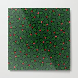 Holly Leaves and Berries Pattern in Dark Green Metal Print