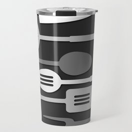 Kitchen Utensil Silhouettes Monochrome III Travel Mug