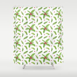 Holly tree branches with leaves and berries watercolor pattern Shower Curtain