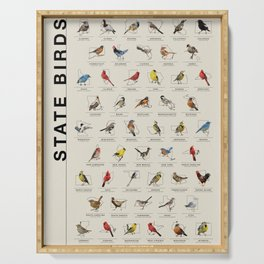 50 State Birds Serving Tray