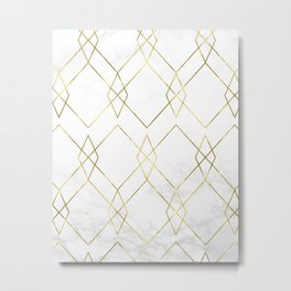 Gold Geometric Marble Pattern Metal Print