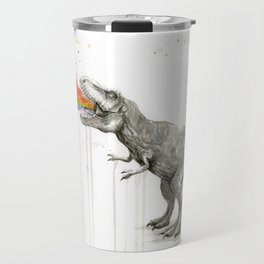 T-Rex Dinosaur Rainbow Puke Taste the Rainbow Watercolor Travel Mug