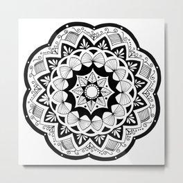 Moroccan black mandala on white Metal Print