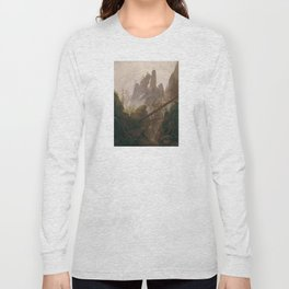 Caspar David Friedrich - Rocky Lanscape in the Elbe Sandstone Mountains Long Sleeve T-shirt