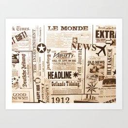 Vintage Newspaper Ads Black and White Typography Art Print