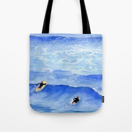 Getting ready to take this wave surf art Tote Bag