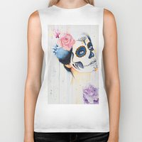 day of the dead Biker Tanks featuring Day of the Dead by Beth Michele