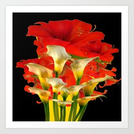 RED FLORALS & YELLOW CALLA LILIES BLACK ART Art Print