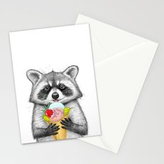 raccoon with ice cream Stationery Cards