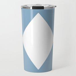 white rhombus on placid blue color background Travel Mug