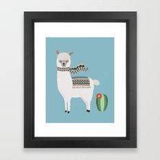 Alpaca & Cactus Framed Art Print