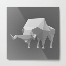 Low polygon style bull Metal Print