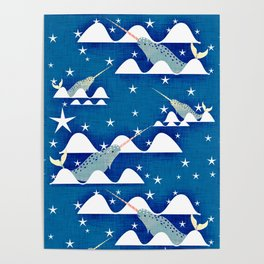 Sea unicorn - Narwhal blue Poster
