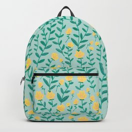Emerald green and Yellow Minimal Retro Flowers Pattern Backpack