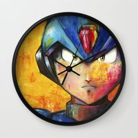 megaman Wall Clocks featuring Megaman by Jhaiku
