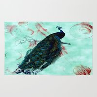 peacock Area & Throw Rugs featuring Peacock by SuzanneCarter