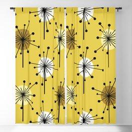 Atomic Era Sputnik Starburst Flowers Yellow Gold Blackout Curtain