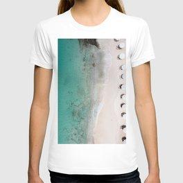 Aerial Beach Ocean Print with Umbrellas at Curaçao, Ocean Print, Aerial Photography, Art Print T-shirt