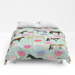 Horses Donuts - horse, donut, pastel, food, horse blanket, horse bedding, dorm, cute design Comforters